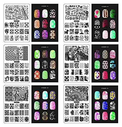CICI & SISI Art Nail Stamp Collection Set Jumbo 4- Ensemble de 6 JUMBO Nailart polonaise Stamping Manucure image Plaques Accessoires Kit Tous les nouveaux modèles avec GRATUIT Stamper & SCRAPER outils mis OFFRE PROMOTIONNELLE
