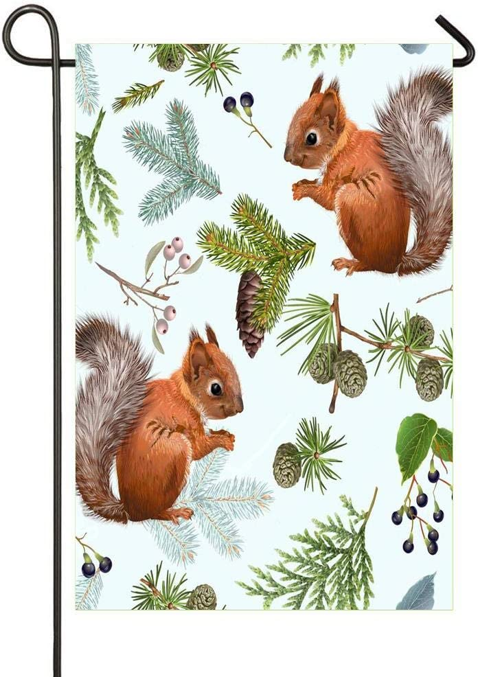 HOOSUNFlagrbfa Garden Flag Decorative Cute Squirrel Branch 12x18 inch Polyester Double Sided Printed Outdoor Courtyards