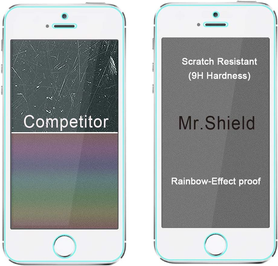[5-PACK]-Mr.Shield Designed For iPhone SE (2016 Edition ONLY) / iPhone 5/5S / iPhone 5C [Tempered Glass] Screen Protector with Lifetime Replacement