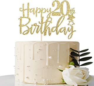 Gold Glitter Happy 20th Birthday Cake Topper,Hello 20, Cheers to 20 Years, 20 & Fabulous Party Decorations