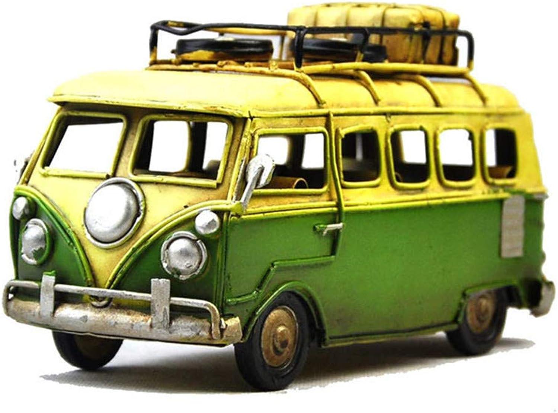Antique Bus Model Tinplate Hand Made Retro Iron Art Home Car Decoration Decoration Arrangement Photography Props 16.5  6.5  9.5Cm