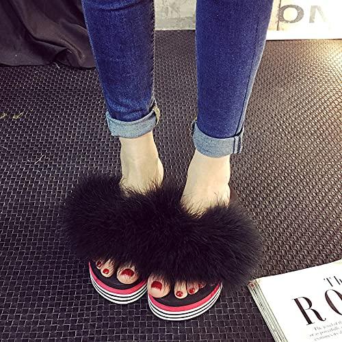 Chanclas Mujer Fila,Zapatillas De Lujo De Primavera Y Verano, Chanclas De TacóN De CuñA para Mujer, Zapatillas De Playa De TacóN Alto Afuera-UE 36 (23 Cm / 9.05')_Negro
