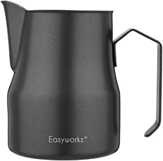 Easyworkz Stainless Steel Milk Frothing Pitcher Milk Jug for Espresso Machine Coffee Cappuccino Latte Art Cup (Black, 15o...