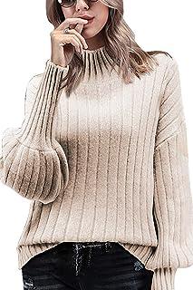 QINSEN Women's High Collar Puff Sleeve Loose Pullover Sweater Knit Jumper Tops