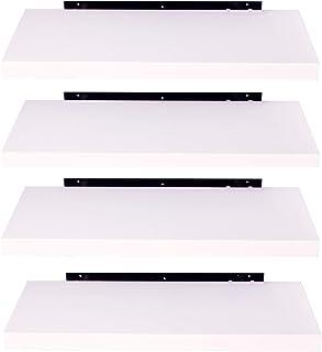 EUGAD Juego de 4 Estantería Pared Madera Blanco Estante Flotante para Colgar Libro CD en Cocina Salon Dormitorio 25cm 0078QJ 0078QJ