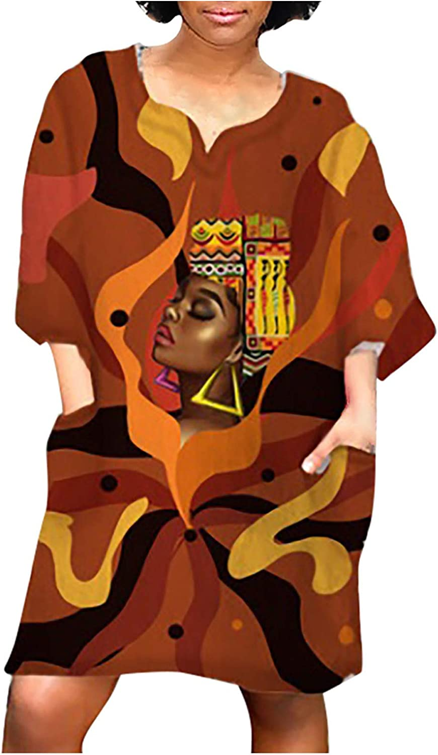 Womens Baggy Dress Casual Loose African Vintage Print Half Sleeves Summer Dresses with Pockets