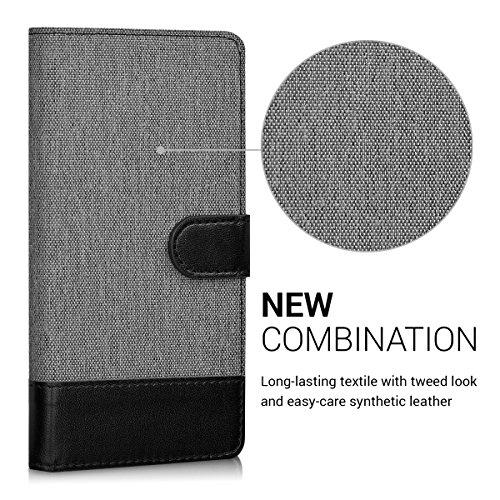 kwmobile Huawei Y6 II Compact (2016) Hülle - Kunstleder Wallet Case für Huawei Y6 II Compact (2016) mit Kartenfächern und Stand - Grau Schwarz - 2