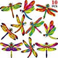 10 Pieces Large Size Dragonfly Window Clings Anti-Collision Window Clings Decals to Prevent Bird Strikes on Window Glass Non Adhesive Vinyl Cling Dragonfly Stickers Double-Side Print