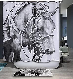 GoJeek Texas Horse Shower Curtain, Rustic White Backdrop Wild Old Age Dala Native Horse Silhouette Western Barn Bathroom Decor