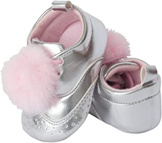 Little Me Girls' Silver PU Wingtip with Pink Pom, 9-12 Months Baby Shoe Size 3 M US Infant