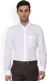 Mens White Slim Fit Solid Linen Formal Shirt (36)