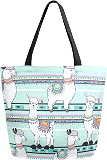 ZzWwR Chic Cute Cartoon Llama Stripes Pattern Extra Large Canvas Tote Bag for Gym Beach Travel Reusable Grocery Shopping Portable Storage HandBags