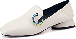 Spring Lady Black Pumps Women Genuine Leather Low Heels Mules Ladies Shallow Shoes Woman 34-43