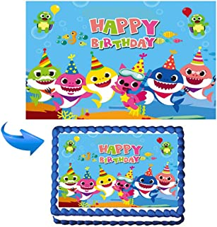 ELSANI Baby Sharks Cake Topper Cupcake Toppers Edible Cake Image Decoration for baby theme party Sheet by Rice Paper