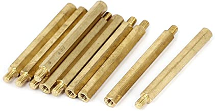 uxcell M4x50 6mm Female/Male Threaded Brass Hex Standoff Pillar Spacer 10pcs