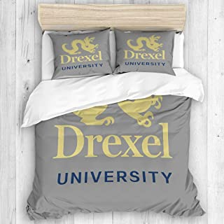 CHANHAAN Duvet Cover Set,Drexel University,Decorative 3 Piece Bedding Set with 2 Pillow Shams King Size