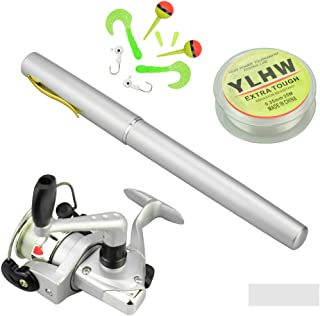 MultiOutools Pen Fishing Pole 38 Inch Mini Pocket Fishing Rod and Reel Combos Travel Fishing Rod Set for Ice Fly Fishing Sea Saltwater Freshwater, Gift for Festivals (Silver)