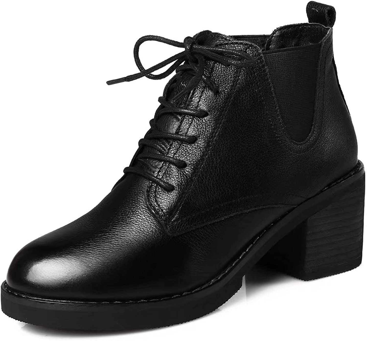 VIMISAOI Women's Genuine Leather Chunky Heel Lace up Round Toe Chelsea shoes Ankle Boots