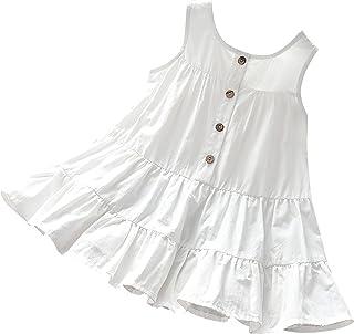 inlzdz Vestido para Niña Verano Elegante con Botones Vestido sin Mangas con Volantes Princesa Niña Ropa de Casual 3-12Años