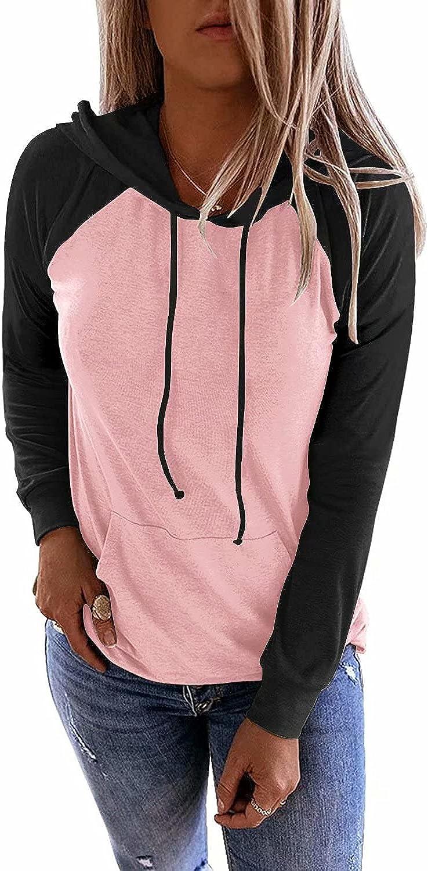 LACOZY Women's Color Block Hoodies Sweatshirt Lightweight Fall Pullover Sweater Long Sleeve Shirt