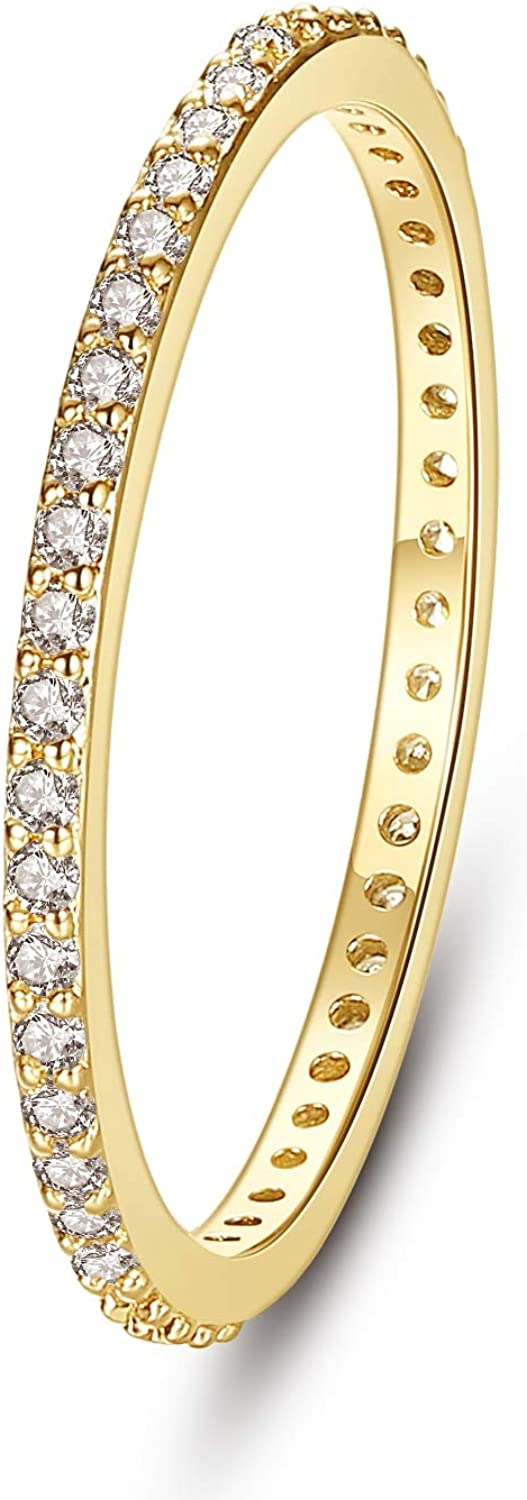 Wowshow Indefinitely Thin Stackable Engagement Band 2021 spring and summer new Cubic W Zirconia Eternity