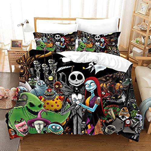 Now and Forever Boys Duvet Cover Set 3 Pieces Nightmare Before Christmas Bedding Decro Set with Zipper Closure Double Size,1 Quilt Cover+2 Pillow Shams
