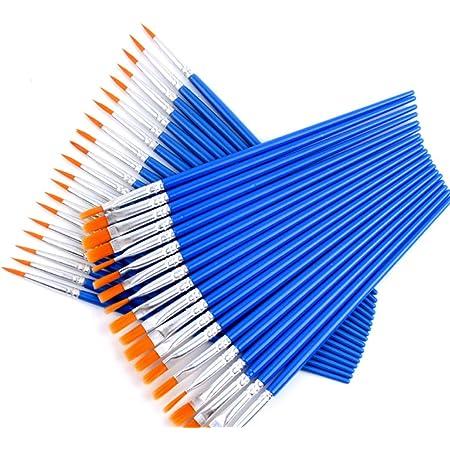 Blau 5 S/ätze Schule K/ünstlerpinsel Set Premium Nylon Pinsel 10er Pack f/ür Details und Kunstmalerei DIY Zeichnung Erwachsene Jugendliche Anf/änger Kinder K/ünstler Fenrad Pinselset Malen 50 St/ück