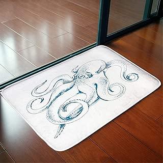 Bathroom WC Home Decor Rug Bedroom Floor Mats Door Mat Indoor Rugs,Vector Sketch Octopus Hand Drawn,Living Room Carpets