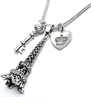 Heart Key Paris Eiffel Tower Dangle Earrings and Pendant Necklace Long Women Girl - Silver Tone Jewelry