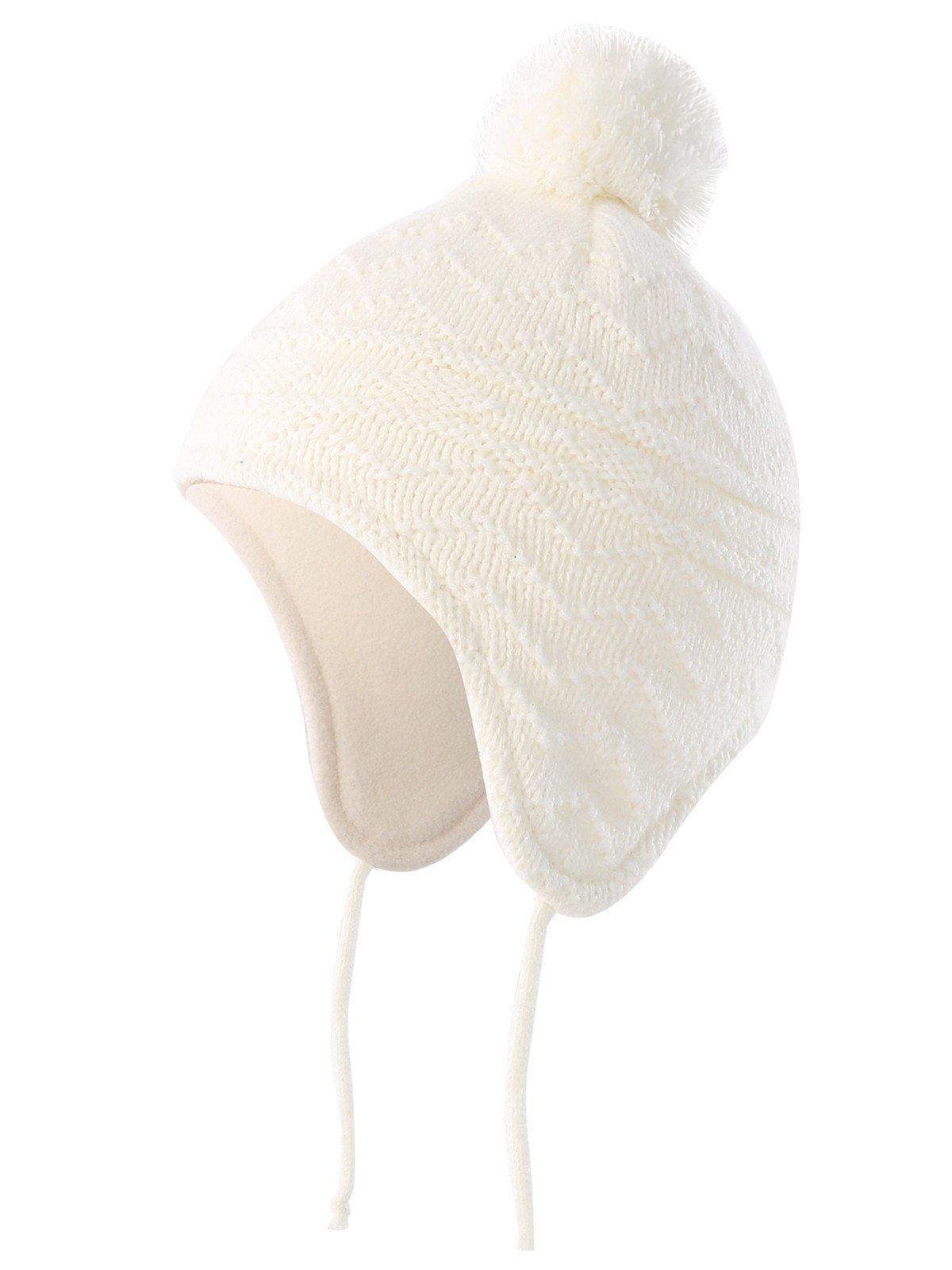 Baby Toddler Fleece Lined Winter Earflap Beanie Cream Bear Hat Knit Mittens or Hat /& Mittens Set
