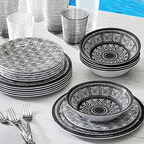 18-Piece Melamine Dinnerware Set Printmaker Design