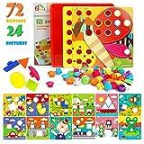 Gxi Mosaik Steckspiel für Kinder - Farbenfrohes Lernspielzeug mit 72 großen Steckperlen und 24 bunten Motiv Steckplatten - Mosaiksteine, Pädagogisch...