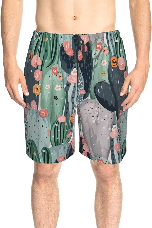 Men's Swim Shorts Retro Pastel Cactus Swim Boardshorts Fast Dry Fashion Athletic Beach Short with Liner
