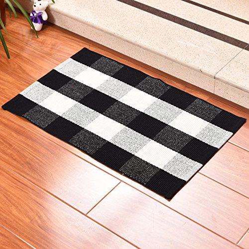 QANAHOME Cotton Bath Runner Checkered Plaid Area Rug Door Mat for Entry Way Washable Carpet for Kitchen (18
