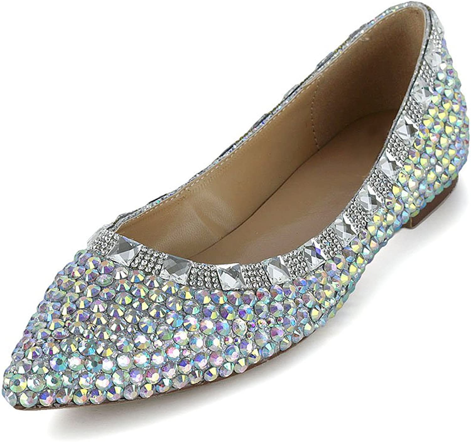Lacitena Patent Leather colorful Diamond Pointed Toe Flat Women Wedding Party shoes