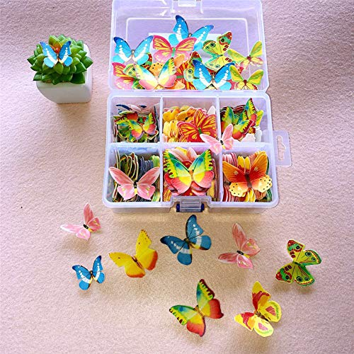 100pcs Cake Wafer Paper Butterfly Flower Shape Cake Baking Decoration Ice Cream Edible Rice Paper for Birthday Party