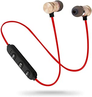 Earphone Bluetooth Sports Neckband Magnetic Wireless Stereo Earplugs Music Metal Band Microphone (Color : Red)