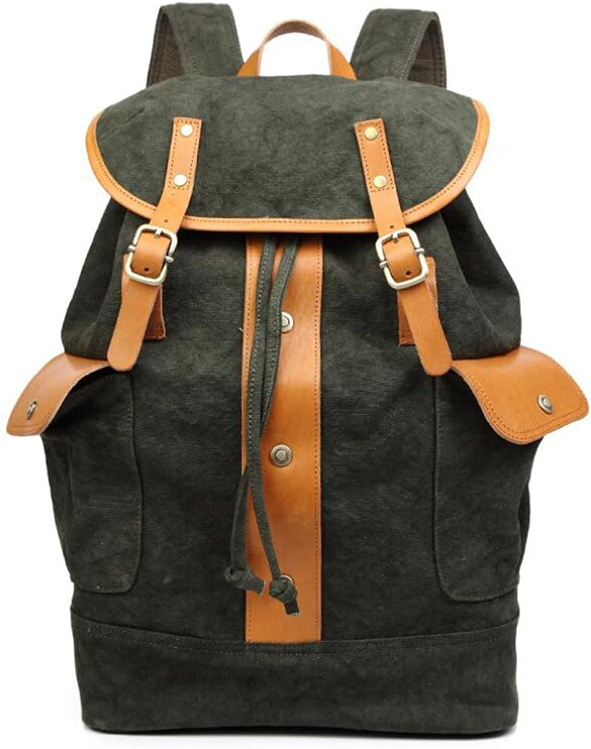 PPGE Canvas Fashion Casual Backpack For Men Satchel Rucksack Daypack Travel Bag Shoulder School Bag Schoolbag For 15.6 Inch Laptop,Darkgreen