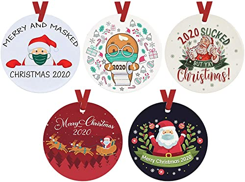 2021 OPTIMISTIC Christmas Ornament Decoration Tree Hanging Decorative Round Wood Decoration Xmas Tree Holiday outlet sale Family Christmas Tree Pendant, discount Double Side Painting Christmas Tree Decor, Pack of 5 outlet sale