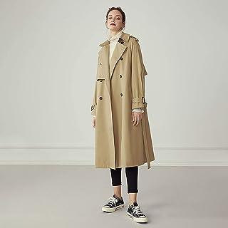 Women's Trench Coat, Mid-Length Women's Spring And Autumn New Fashion Style Windbreaker Jacket,Khaki,XXS