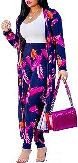 Mujer Moda Estampado Floral Conjunto Casual 2 Piezas Abrigo Largo y Pantalones Largos Traje Estampado Pluma Leopardo Chaqu...