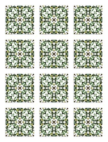Panorama Azulejos Adhesivos Cocina Baño Pack de 8 Cenefas de Baldosas de 100x10 cm Azulejo Hidráulico Tipo Oriental Verde - Vinilos Cocina Azulejos - Revestimiento Paredes - Azulejos Adhesivas