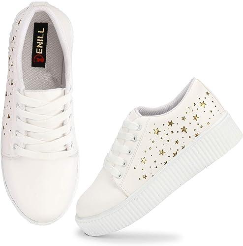 Denill Star Laser Cut Sneakers for Women's