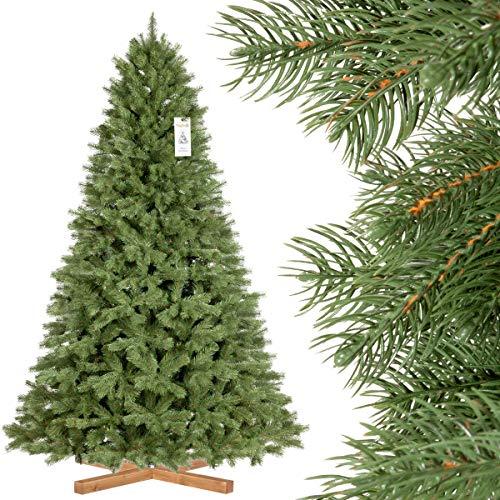 FairyTrees Sapin de Noël Artificiel, Épicéa Royal Premium, matériel PU + PVC, Socle en Bois, 220cm, FT18-220