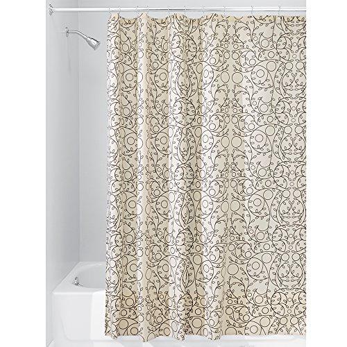 iDesign Twigz Fabric Bathroom Shower Curtain - 72' x 72', Vanilla/Bronze