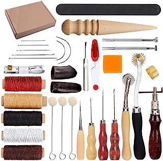 HOSTK 33pc DIY en Cuir Artisanat Main Kit Outils Ensemble pour Coudre Coudre Estampage Sculpture Selle en Cuir Artwork Acc...