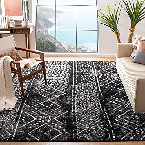 Safavieh Adirondack Collection ADR111C Moroccan Boho Distressed Non-Shedding Stain Resistant Living Room Bedroom Area Rug, 9' x 12', Black / Silver