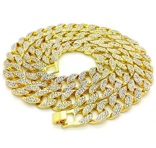 Shiny Jewelers USA Mens Iced Out Hip Hop Gold Tone CZ Miami Cuban Link Chain 8', 9', 20', 24', 30', 36' Necklace Bracelet (16')