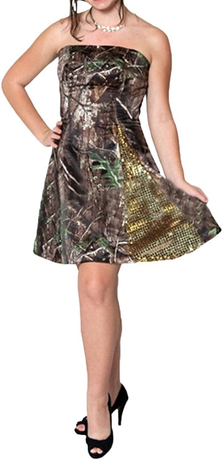 Angel Bride 2015 New Mini Short Strapless Camo Party Prom Cocktail Dresses