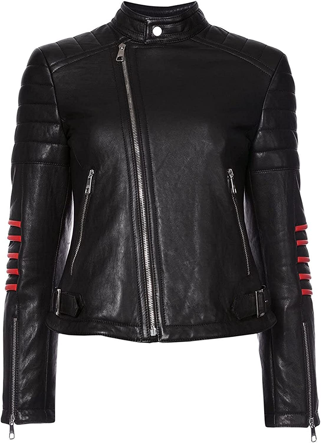 Fashionsta Craze Biker Quilted Long Sleeves Leather Jacket for Women - Jacket for Women Black